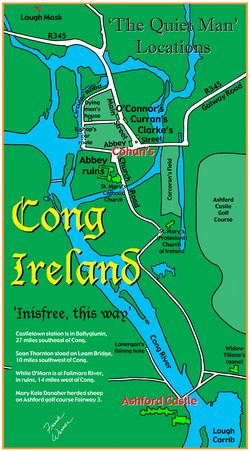 Map of Cong Ireland Quiet Man t