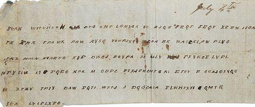 Civil War 1863 coded message
