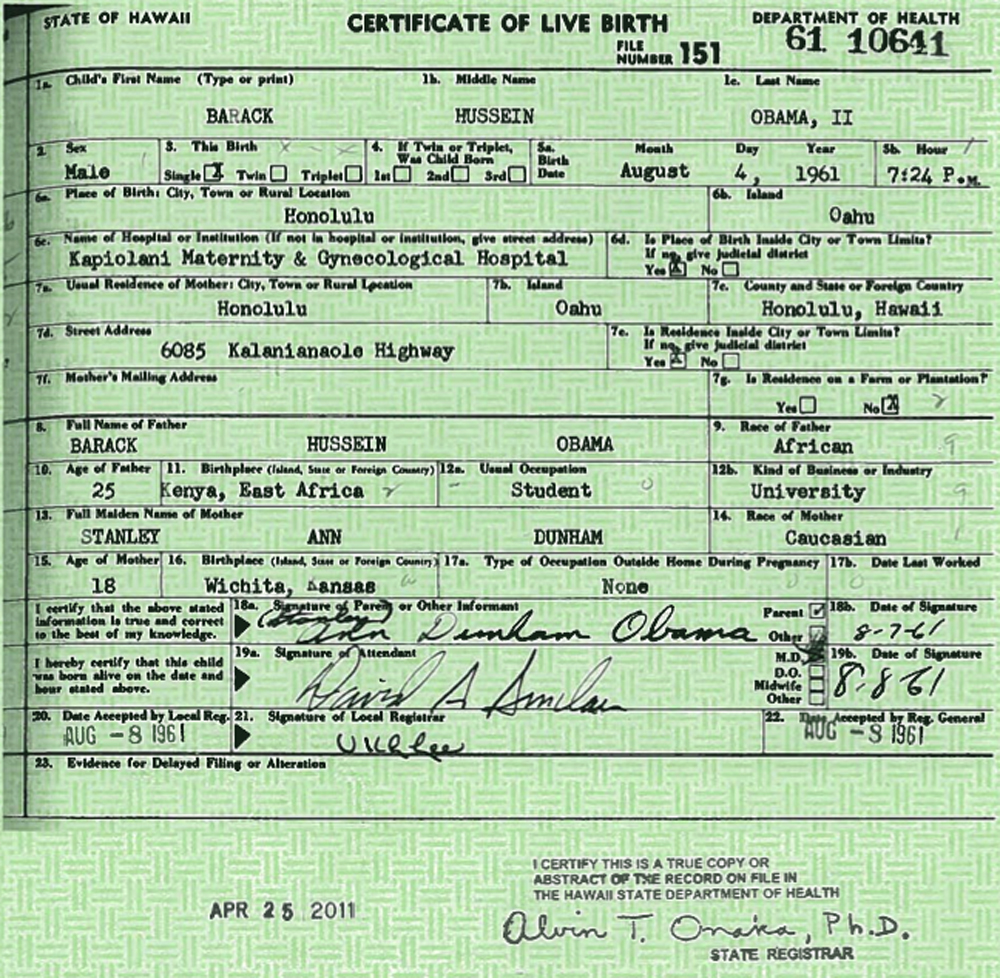 Free frank warner president obama finally releases his original barack obama 1961 birth certificate 1betcityfo Image collections