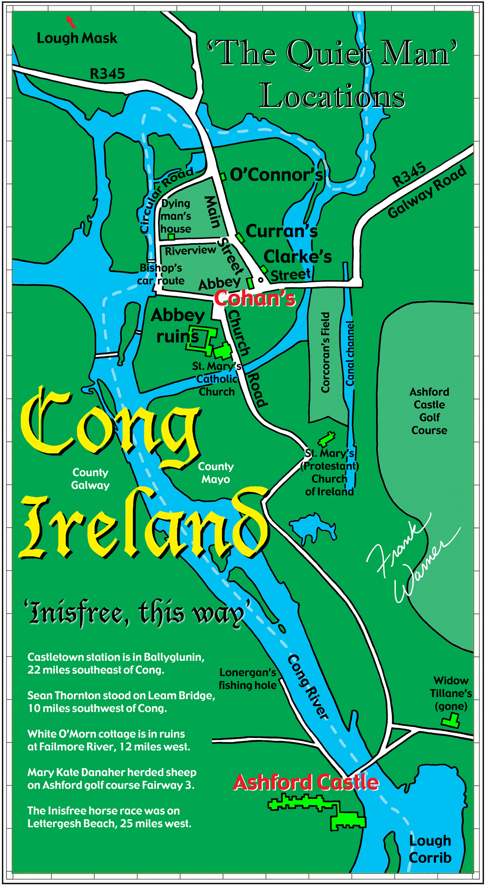 Free Frank Warner Map Of Cong Ireland The Inisfree Of The Quiet Man