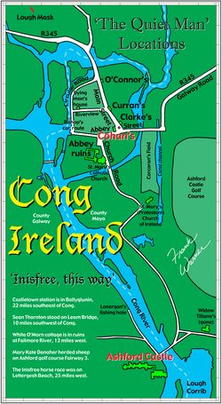 Map Of North West Ireland.Free Frank Warner Map Of Cong Ireland The Inisfree Of The Quiet Man